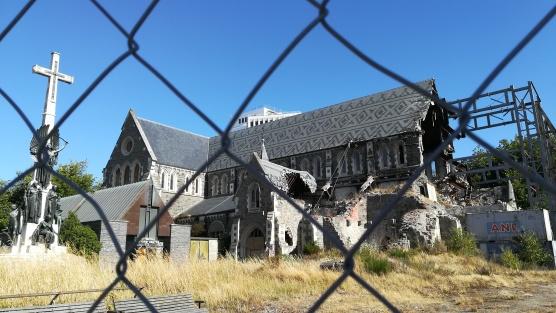 Anglikán székesegyház a 2011-es földrengés eredményeképpen, Christchurch, NZ